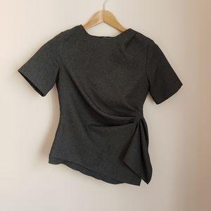 ASOS Gray Asymmetrical Short Sleeve Blouse